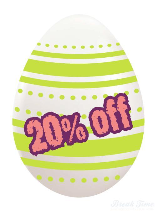 Eggciting times ahead: 20% off Easter discount in-store and online! | Break Time