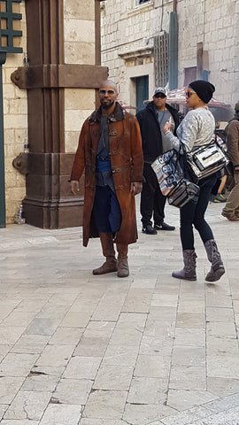 Jamie Foxx on Stradun, playing Little John in the new Robin Hood movie