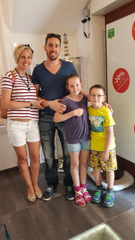 German family enjoying their new Croatian souvenirs from Split: Break Time nautical bracelets