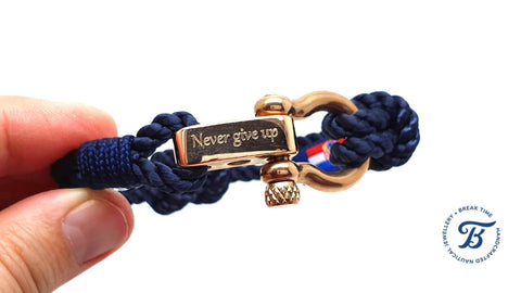 custom engraved nautical bracelet. personalized gift for her or for him. never give up. engraving motto.