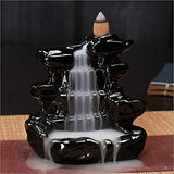 Stress Reliever Black Waterfall Smoke Backflow Cone Incense Holder Decorative Showpiece