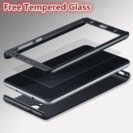 iPaky 360 Degree Protection Front & Back Case Cover for Xiaomi Redmi Note 3 with Tempered Glass - Black - The Immart  - 3