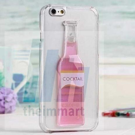 Tuzech Iphone 5/5S Liquid Rubber Case (Cocktail Bottle) Pink - The Immart  - 2