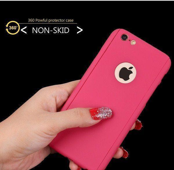 Back Cover - Tuzech IPhone 6 6S 360 Smart Case With Logo Visible + Free Temper-guard (PINK COLOUR)