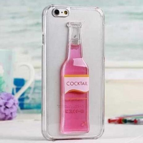 Tuzech Iphone 6 Liquid Rubber Case (Cocktail Bottle) Pink - The Immart  - 1