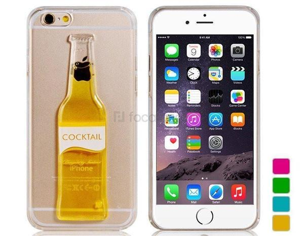 Tuzech Iphone  Liquid Rubber Case (Cocktail Bottle)Yellow - The Immart - 1