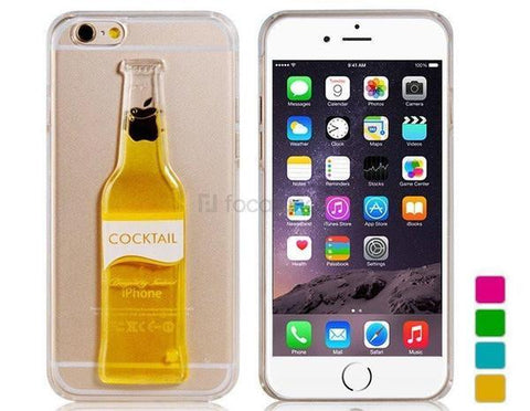 Back Cover - Tuzech Iphone  Liquid Rubber Case (Cocktail Bottle)Yellow