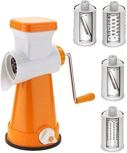 Chopper - TUZECH 4 In 1 Rotary Stainless Steel Grater Shredder Slicer Chopper For Vegetables,Fruits,Chocolates,Dry-Fruits ,Pasta Salad Maker