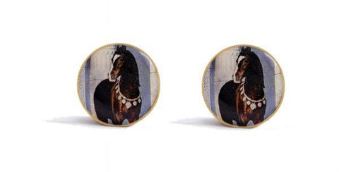 Cufflinks - Designer Damascus Silver Plated Worked Smart Cufflinks - Horse Designed