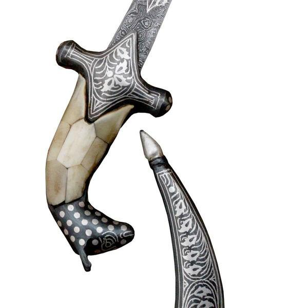 "Dagger - 10"" Dagger Bone Hand Silver Koftgiri Work With Damascus Blade Designer English Knife Handcrafted"