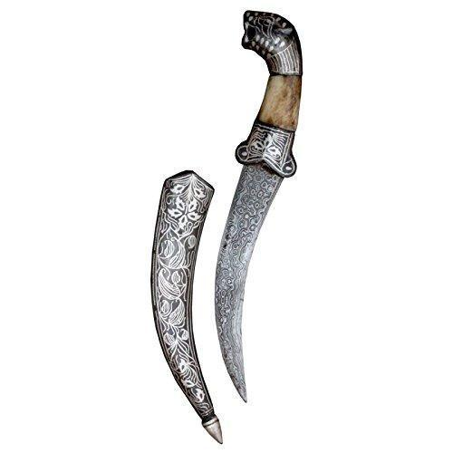 Dagger - Handcrafted Handmade Dagger Knife Damascus Steel Blade Pure Silver Wire Bidaree Work Silver Designer English Knife Handcrafted