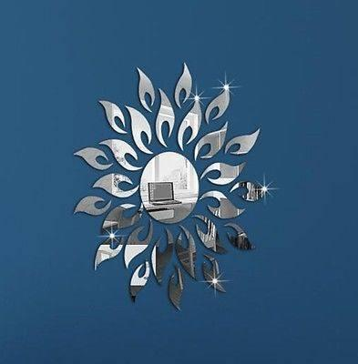 Decals, Stickers & Vinyl Art - SUN FLOWER 3D DECOR MIRROR FINISH WALL STICKER