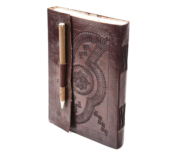Diary - TUZECH  Leather Journal Leather Diary Personal Memoir Elegant Business Poem Notebook With Free Pencil - (10 Inches X 7 Inches)