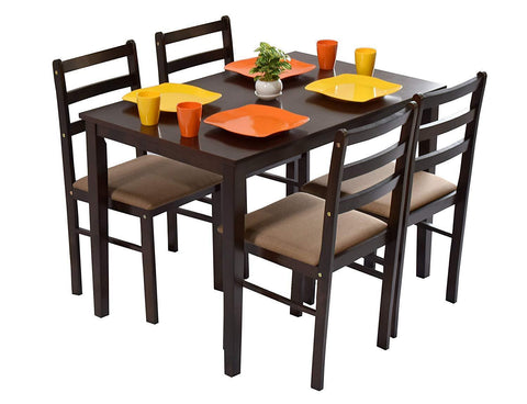 Furniture - Insignia 4 Seater Dining Table Set (Rubber Wood, Dark Walnut)