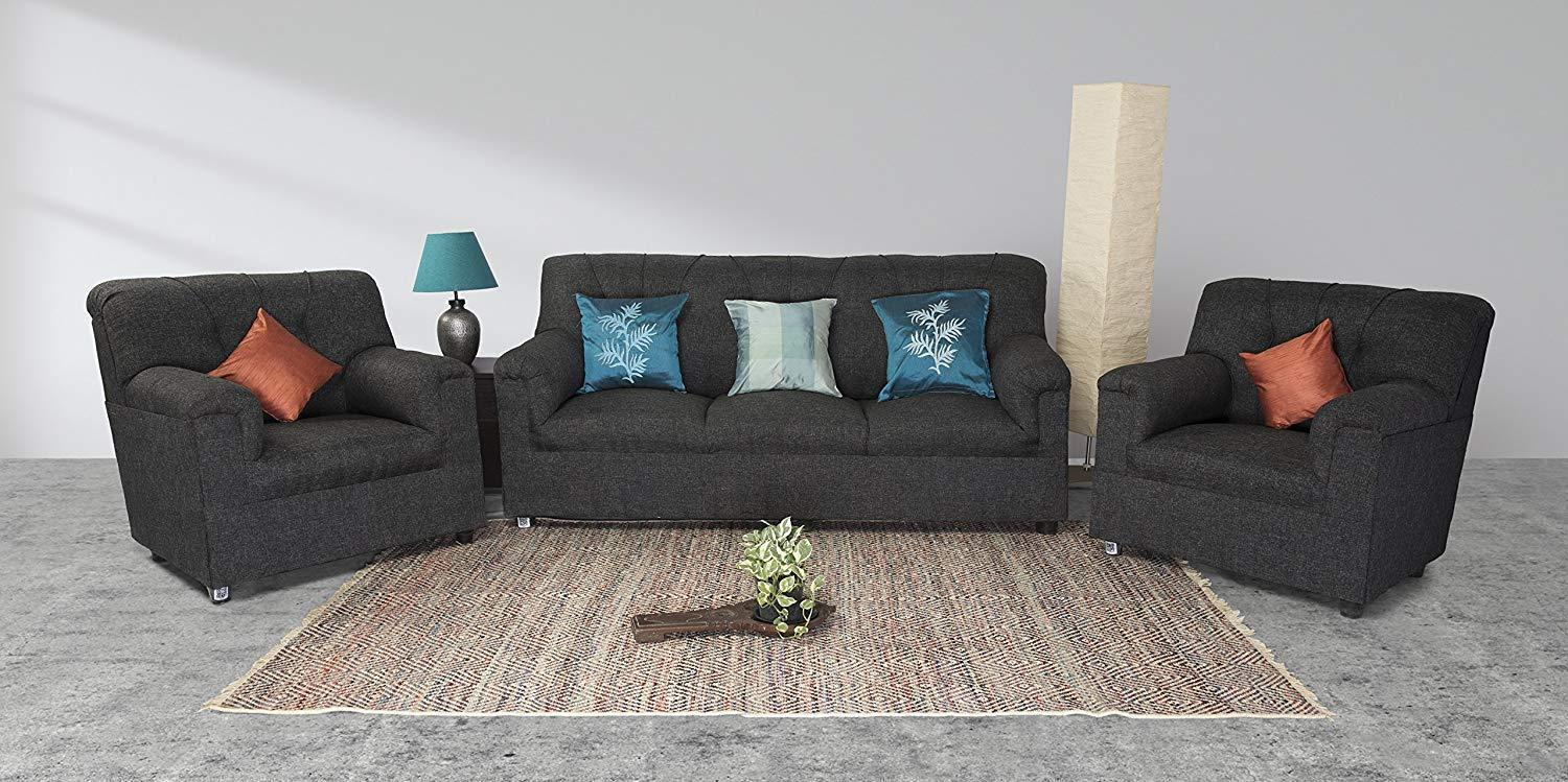 Furniture - Insignia 5 Seater Sofa Set (Grey) (3+1+1) Modern Style & Jute Fabric Material