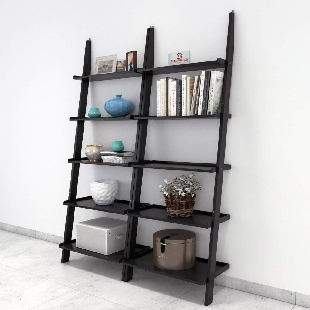 Furniture - Insignia Bookcase Ladder And Room Organizer Engineered Wood Wall Shelf, Black