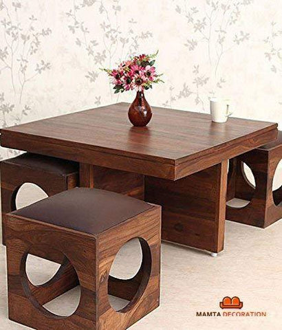 Furniture - Insignia Decoration Wooden Coffee Table With 4 Stools For Living Room - Matt Polish Finish, Chocolate Cushion