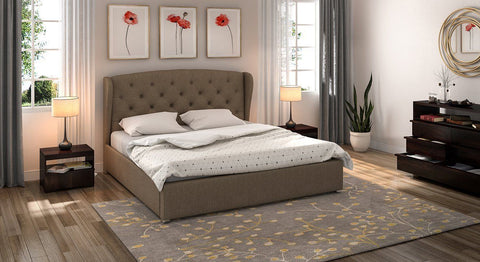 Furniture - Insignia King Size Upholstered Double Bed (Mist Brown)
