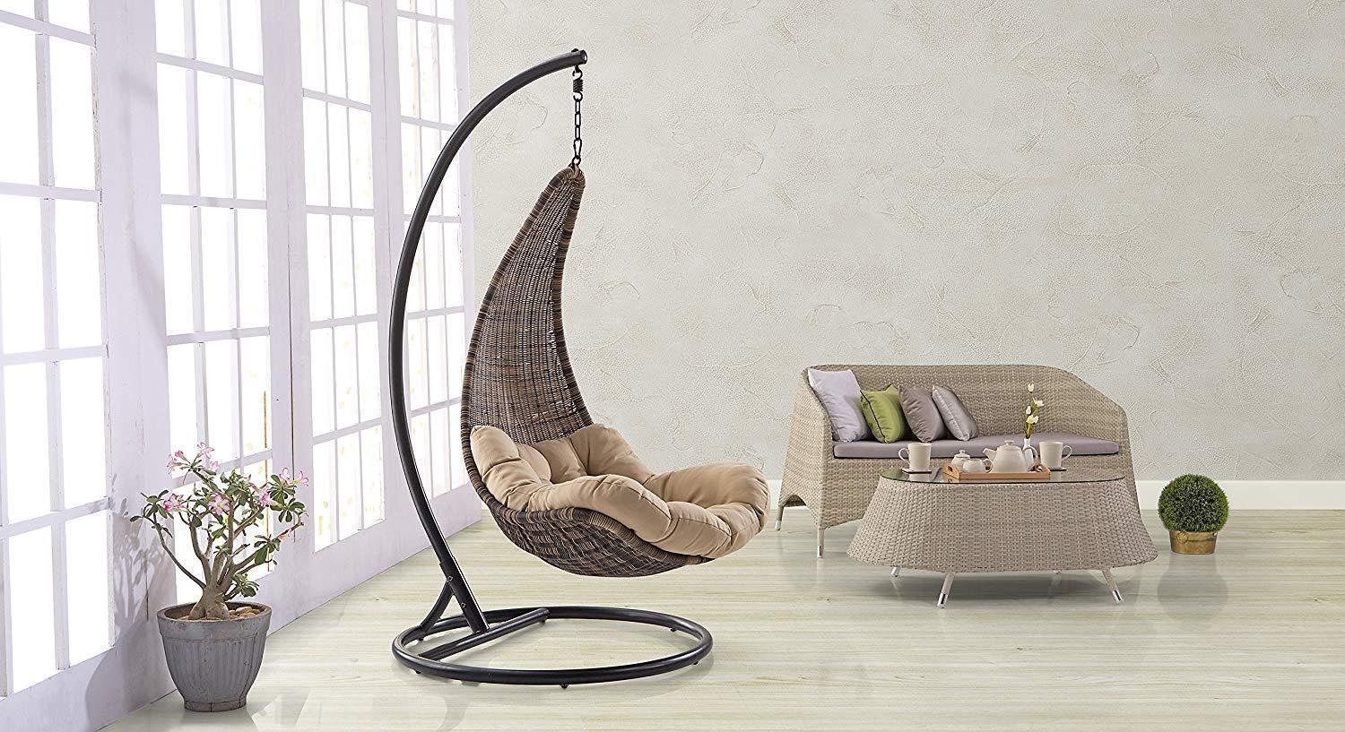 Furniture - Insignia  Outdoor-Balcony Swing Chair With Stand (Brown)