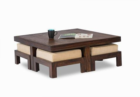 Furniture - Insignia Sheesham Wood Coffee Table For Living Room | Center Table | With 4 Stools | Walnut Finish With Cream Cushion