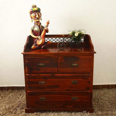Furniture - Insignia Solid Wood Chest Of Drawers/Sideboard/ Storage Unit For Living Room In Teak Finish