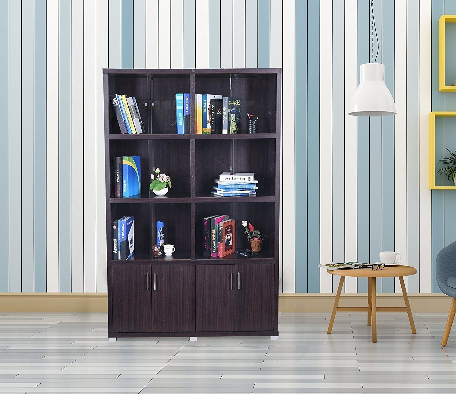 Furniture - Insignia Twin Bookshelf With Sliding Doors (Dark Brown)