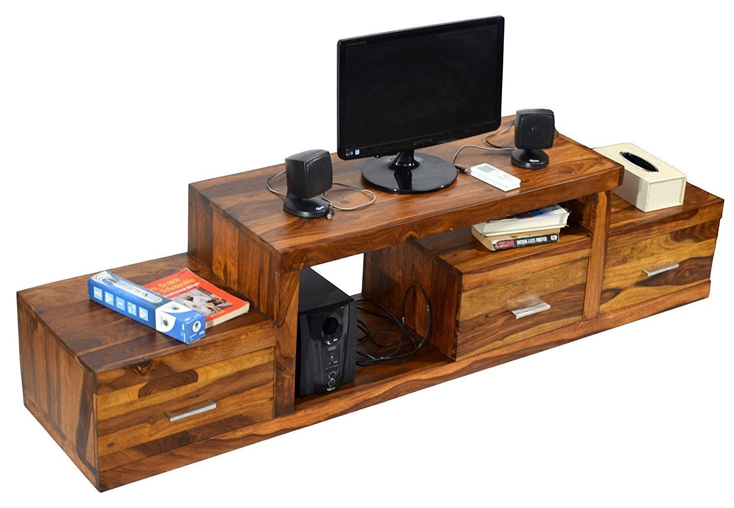 Furniture - Insignia Wood 1.75 Meter Natural Teak Finish 3 Draw Nadia TV Unit Cabinet Entertainment Stand