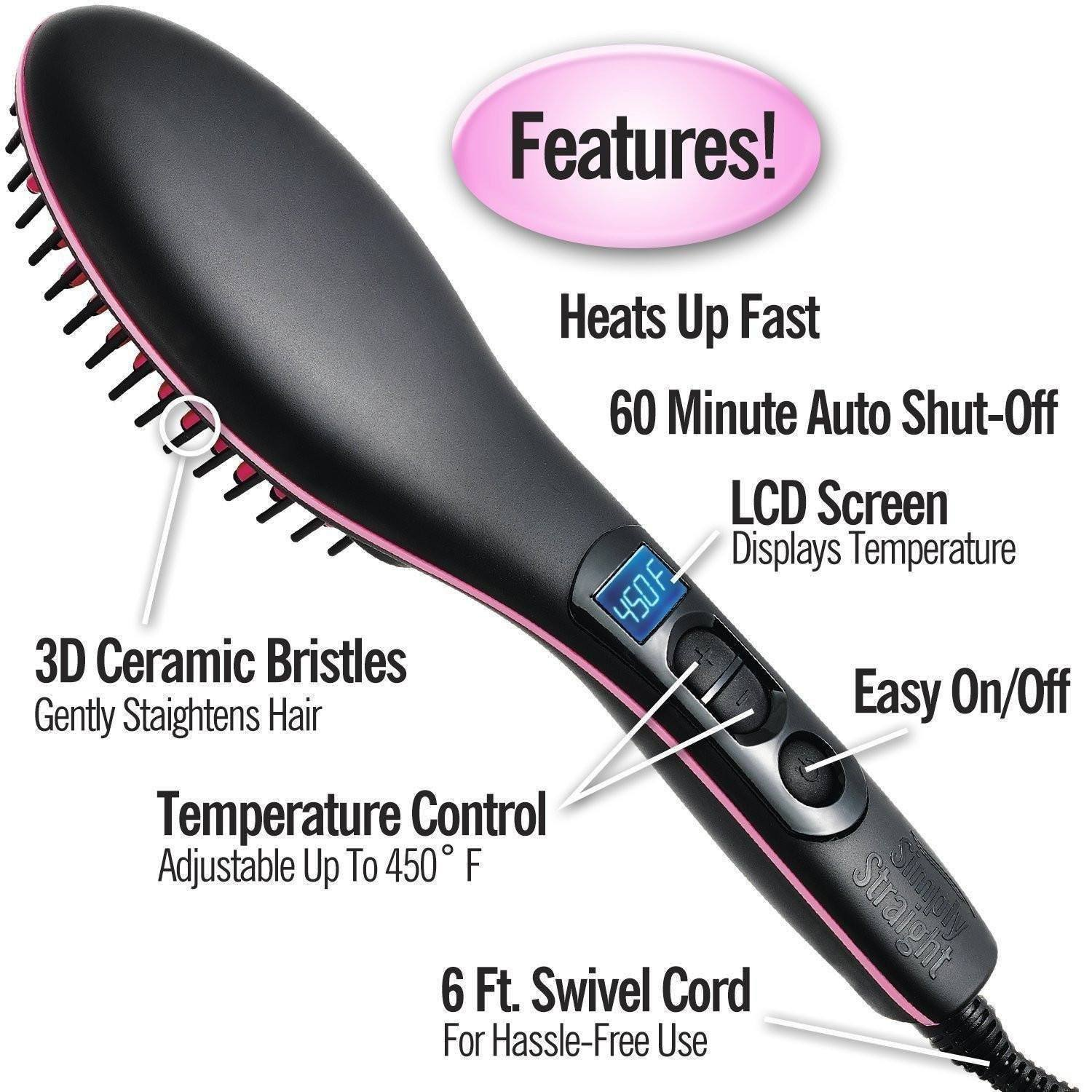 Hair Straightener Comb With Temperature Setting - For Men and Women The Immart