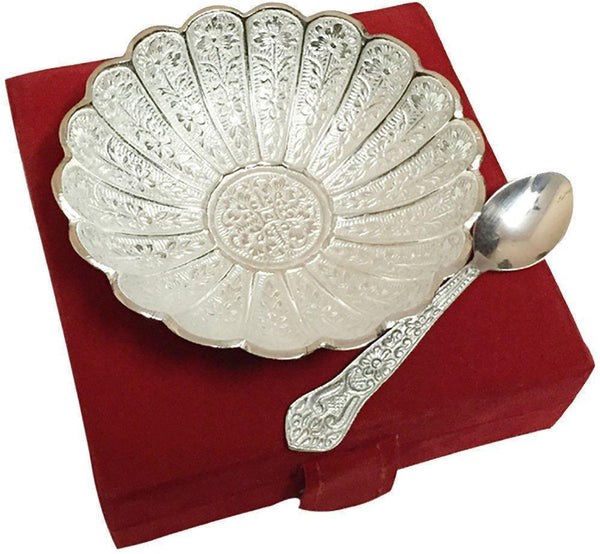 IN-INDIA Floral Pattern Silver Plated Brass Bowl With Red Velvet Box