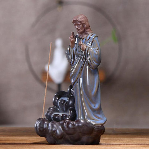 Incense Burner - [GOODLUCK] Lord Jesus Reverse Smoke Back-flow Cone Incense Holder Showpiece