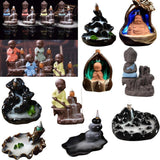 Incense Burner - Stress Reliever Black Waterfall Smoke Backflow Cone Incense Holder Decorative Showpiece