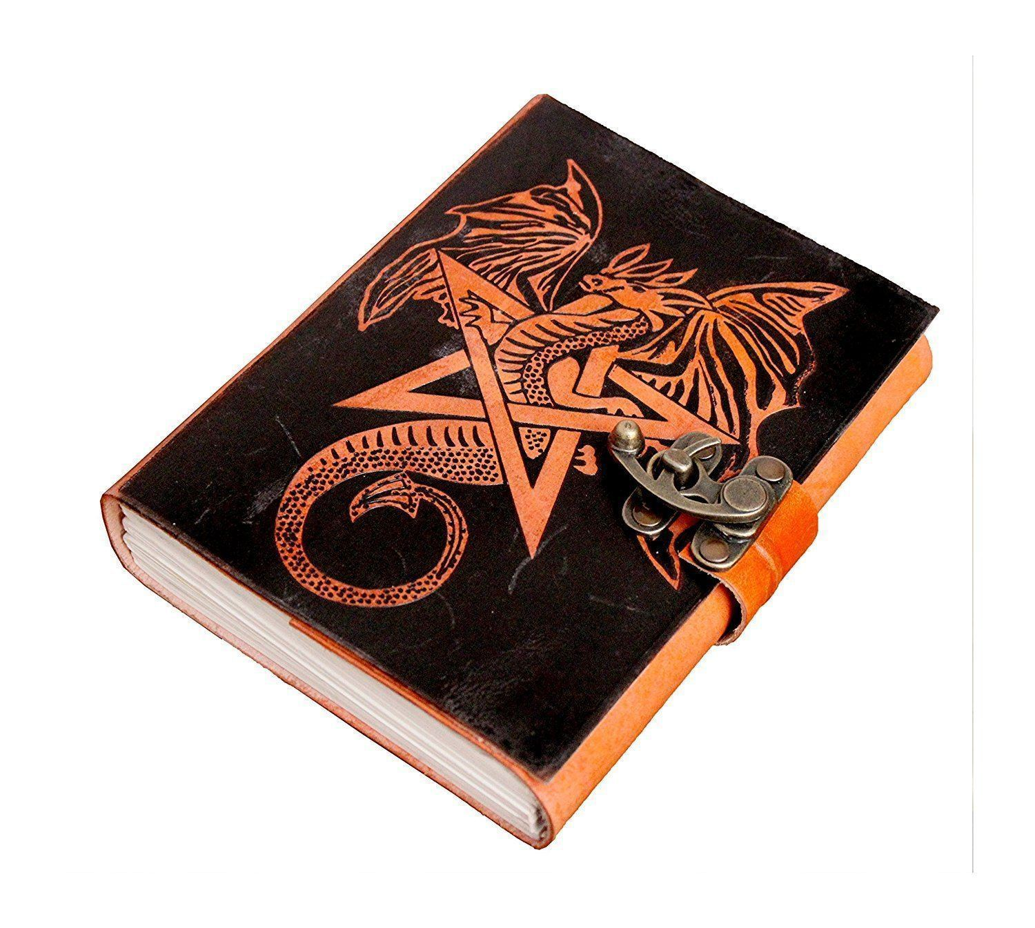 ININDIA Pure Genuine Real Vintage Hunter Leather Handmade Paper Notebook Diary For Office Home To Write Poem Daily Update With Attractive Metal Lock And Engraved Eagle 7 Inches (All Colors)