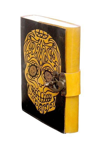 ININDIA Pure Genuine Real Vintage Hunter Leather Handmade Paper Notebook Diary For Office Home To Write Poem Daily Update With Attractive Metal Lock And Engraved Skull 7 Inches (All Colors)