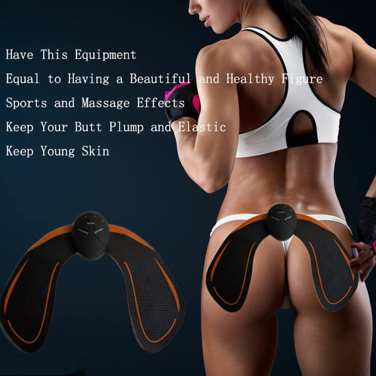 Instant Abs - EMS Instant ABS Hips Trainer Muscle Strengthening System Wireless  Body Beauty  For Buttocks Lifting Firm Shaping (Black)