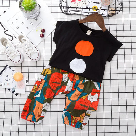 Kid's Cloths - Pindia Children's Suit New Summer Short Sleeved T-shirts And Cartoon Feature Pants