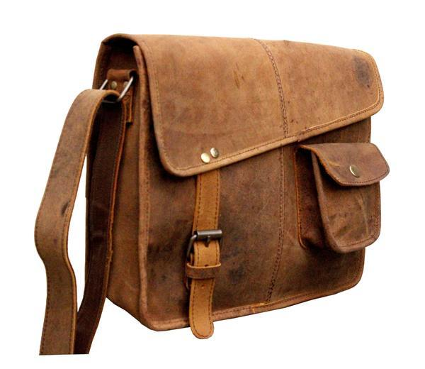 Leather - IN INDIA Designer Buffalo Hunter Leather Laptop Messenger Bag Office Briefcase College Bag - Fits Laptop Upto 13.3 Inches