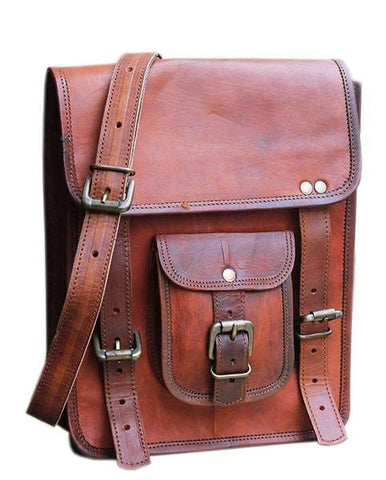 "Leather - IN-INDIA Durable Pure Leather Vintage Rustic Messenger Satchel Stylish Bag- Fits 13.3"" Laptops"