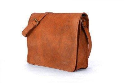 IN-INDIA Full flap Hunter Leather Brown Messenger Satchel Bag- Fits Laptop and iPad All Sizes The Immart