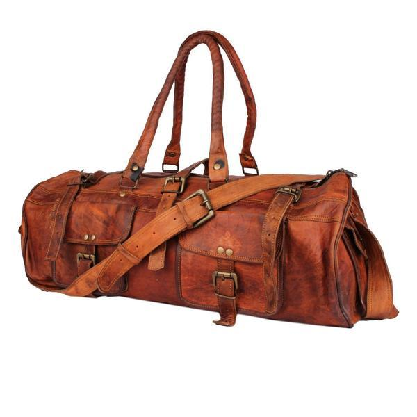 IN-INDIA Hard Bound Heavy Duty Exclusive Pure Leather 2 Pocket Duffel Bag - 22 Inches The Immart