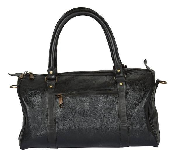 IN-INDIA Leather Black Softsided Travel Duffle Bag The Immart