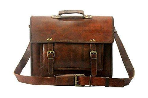 Leather - IN-INDIA Pure Leather Modern Light- Weight Messenger Satchel Bag - Fits Laptop Upto 15.6 Inches