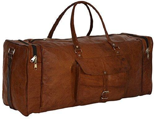 IN-INDIA Pure Leather Modern Square 22 Inches Ultra Light Duffel Bag - High Quality Leather The Immart