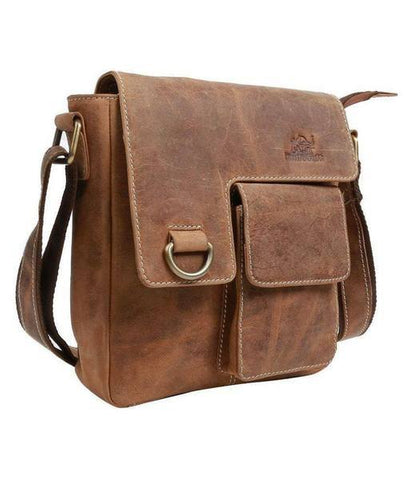 Leather - IN-INDIA Pure Leather Modern Styled Faded Brown Handy Messenger Bag -Fits Laptop