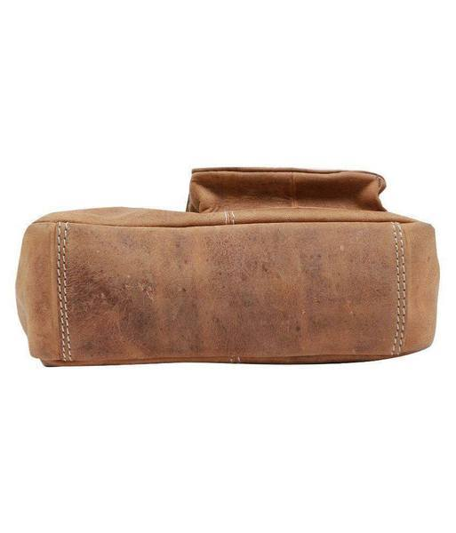 IN-INDIA Pure Leather Modern Styled Faded Brown Handy Messenger Bag -Fits Laptop The Immart