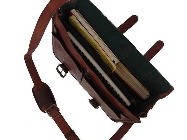IN-INDIA Pure Leather Unisex Office Formal Travel Brown Laptop Messenger Bag - Fits Laptop The Immart