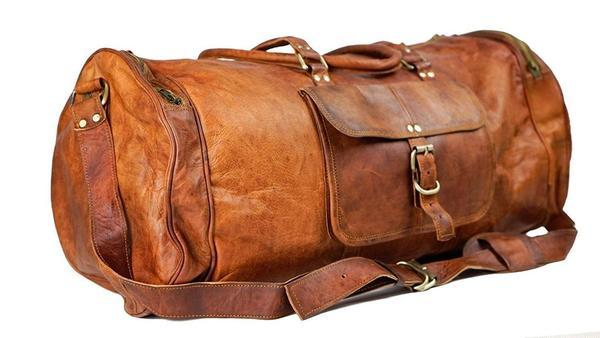 IN-INDIA Pure Light-weight Vintage Leather 22 inch Duffel Carry Portable Bag The Immart