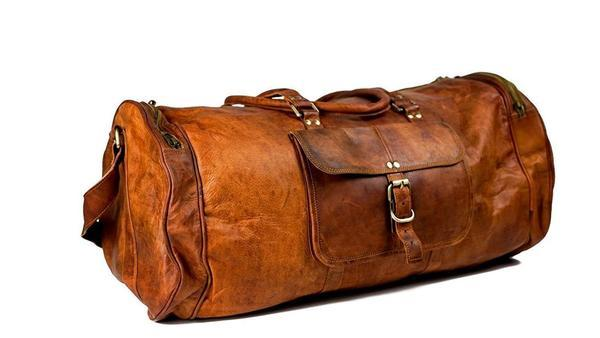 Leather - IN-INDIA Pure Light-weight Vintage Leather 22 Inch Duffel Carry Portable Bag