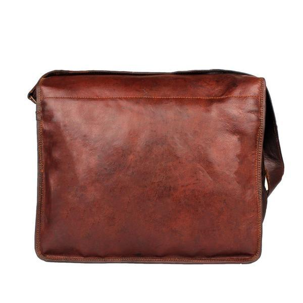 Leather - Tuzech Menly Look Hard Bound Bravery Symbol Pure Leather Messenger Bag - Fits Laptop Upto 13.3 Inches