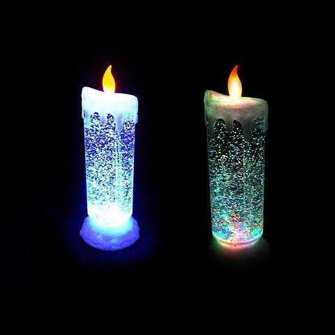 Auto Rotating Glitter Rechargeable Led Candle Cum Light Show - The Immart - 2