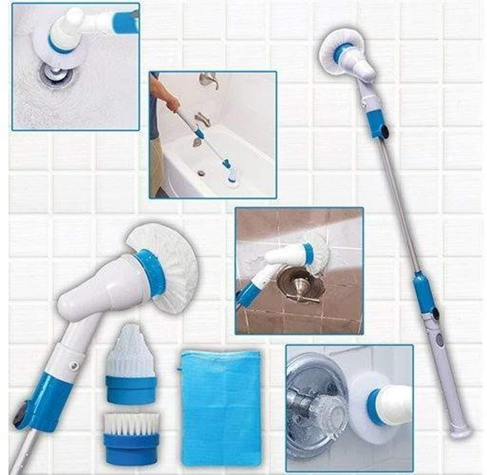 Mop - TUZECH Rechargeable Magic Mop Cleaner Spinner With Adapter & 3 Attachments Mop Set Scrubber Remover